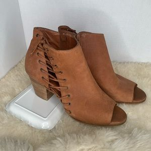 Lucky Brand Open Toe Leather Boots Brown Size 10